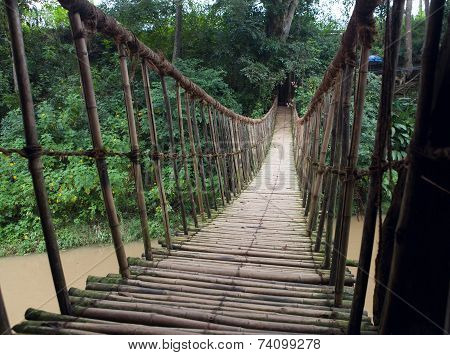 Hinged Bridge Over The River, Dalat.
