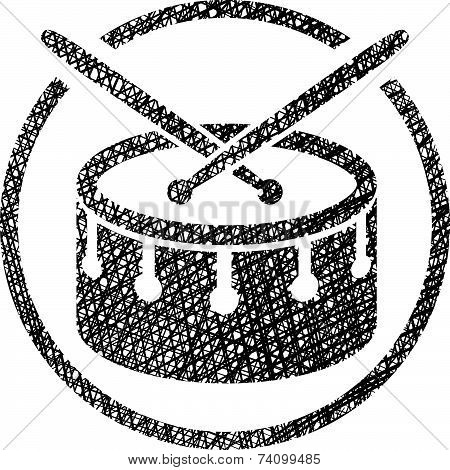 Snare drum musical icon with hand drawn lines texture.
