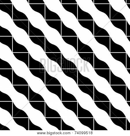 Geometric mosaic seamless pattern, black and white background.