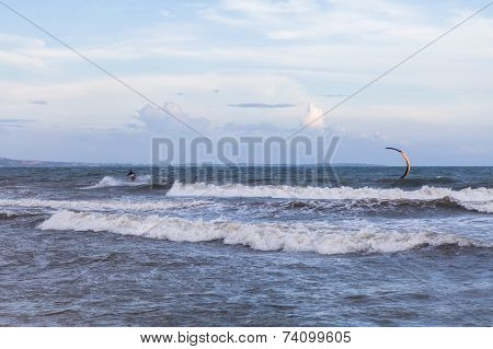 Unidentified People During Demonstration Of Kitesurfing