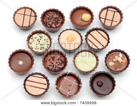 Mixed Chocolates On White