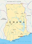 stock photo of political map  - Ghana Political Map with capital Accra - JPG