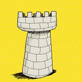 stock photo of yellow castle  - Hand drawn stone castle tower over yellow halftone background - JPG