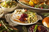 stock photo of baked potato  - Homemade Thanksgiving Turkey on a Plate with Stuffing and Potatoes