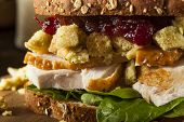 foto of thanksgiving  - Homemade Leftover Thanksgiving Dinner Turkey Sandwich with Cranberries and Stuffing - JPG