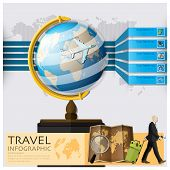 stock photo of passport template  - Travel And Journey World Map Infographic Background Design Template - JPG