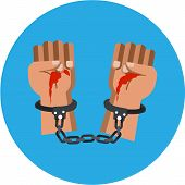 picture of sadism  - Bloody Murderer Hands vector illustration in flat style