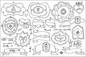 image of crown  - Doodles labels - JPG