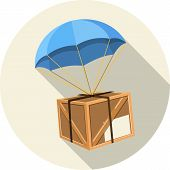 stock photo of parachute  - Parachute with Wooden Box-  Vector illustration in flat style