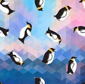 stock photo of ice crystal  - abstract blue crystal ice background with penguin - JPG