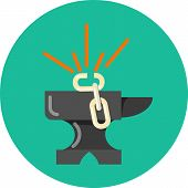 stock photo of anvil  - Anvil and Chain Breaking