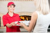 stock photo of take out pizza  - Here is your order - JPG