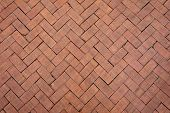 picture of paving stone  - Red brick paving stones background zigzag pattern - JPG