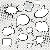 picture of strip  - Comic speech bubbles and comic strip on monochrome halftone background vector illustration - JPG