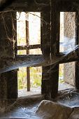 stock photo of cobweb  - window of an abandoned house with cobwebs - JPG