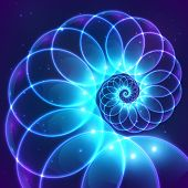 picture of fractals  - Blue abstract vector fractal shining cosmic spiral - JPG