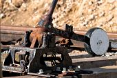 stock photo of levers  - Switch reversing lever old and rusty an abandoned railway - JPG