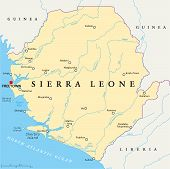 picture of freetown  - Sierra Leone Political Map with capital Freetown - JPG