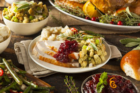 picture of potato-field  - Homemade Thanksgiving Turkey on a Plate with Stuffing and Potatoes
