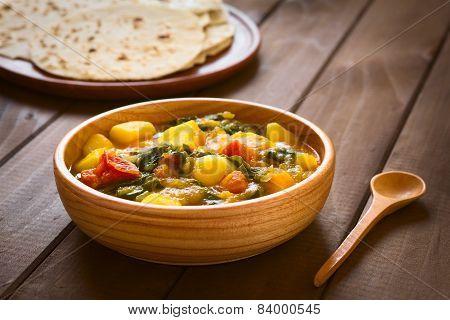 Pumpkin Mangold Potato Tomato Curry Dish