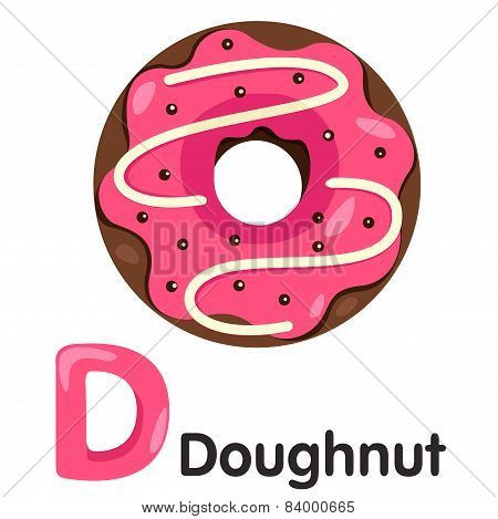 Illustrator of D font with donut