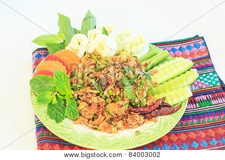 Food,spicy Minced Pork Salad, Minced Pork Mash With Spicy, Thai Food
