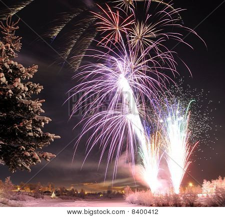 Arctic Solstice Fireworks in Fairbanks