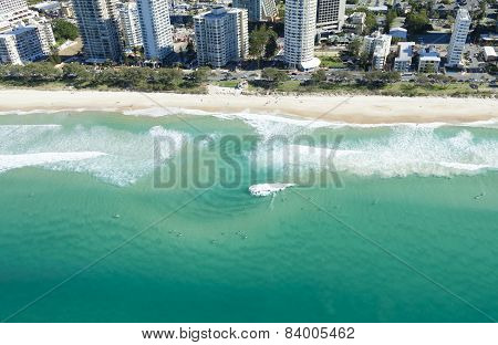 Surfers In The Water In Surfers Paradise