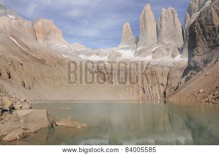 Clouds above the main peaks of Torres del Paine National park.