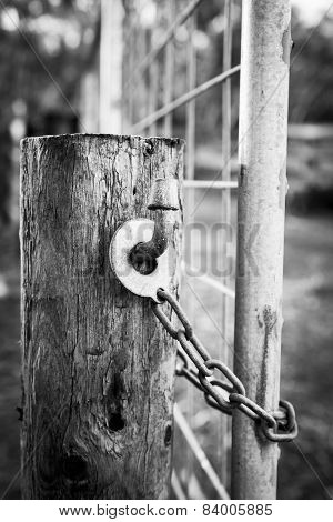 Farm Gate Lock Black And White