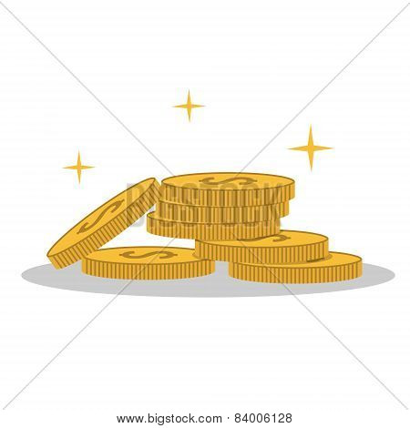 Isolated cartoon shine gold coin