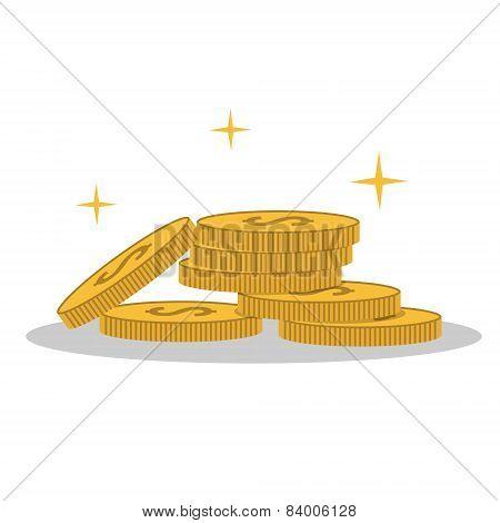 Isolated cartoon shine gold coin