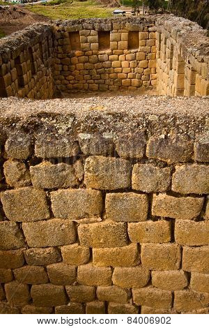 Closeup of wall construction Ingapirca important inca ruins in Ecuador