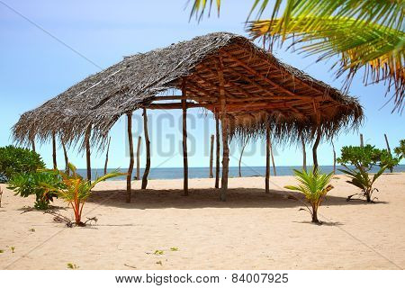 Deserted tropical beach of soft sand