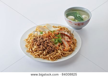 Fried Noodle With Roast Pork Sliced Fish Cake Minced Pork And Fishball Soup