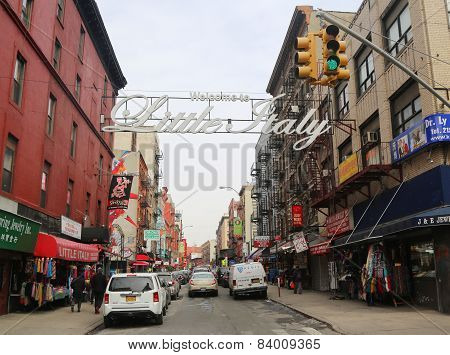 Welcome to Little Italy sign in Lower Manhattan