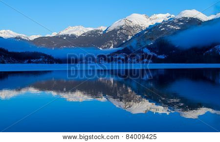 Winter landscape of mountains