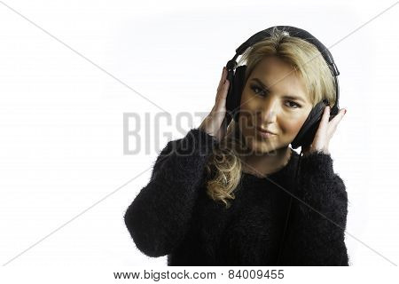 Pretty Blonde Wearing Studio Headphones Listening Music Isolated Background