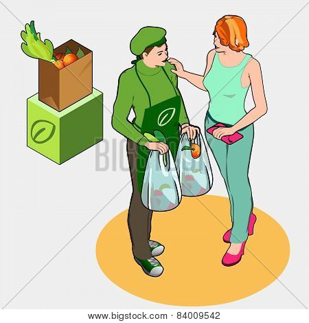 Isometric Greengrocer Shop - Owner And Customer Women