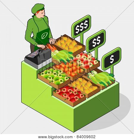Isometric Greengrocer Shop - Woman Owner - Front View Standing People