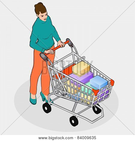 Isometric Grocery Shopping - Walking Woman With Full Shopping Cart