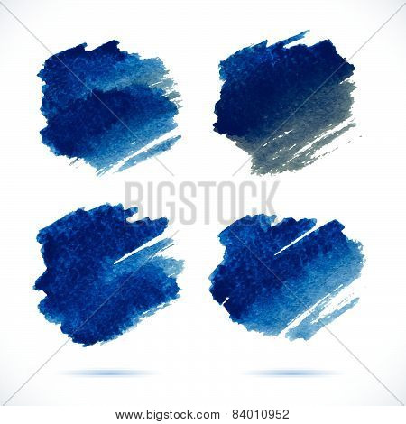 Brushstroke banners. Ink red and blue watercolor spot backgrounds.Template with shadow