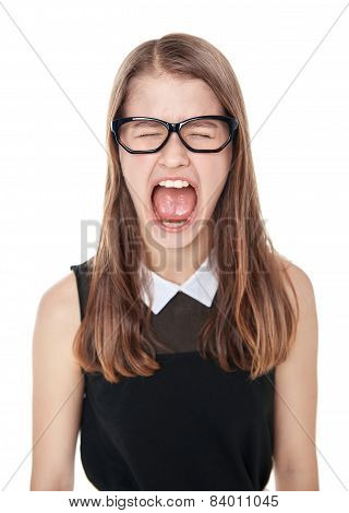 Angry Young Teenage Girl Screaming Isolated