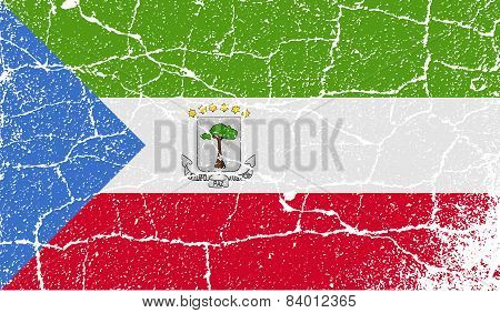 Flag Of Equatorial Guinea With Old Texture. Vector