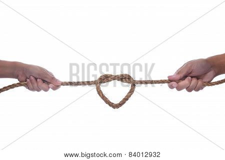 Two Hand Pulling A Rope With Heart Shape