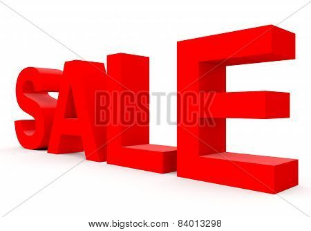 Sale - Red 3D Letters Isolated On White