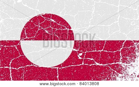 Flag Of Greenland With Old Texture. Vector