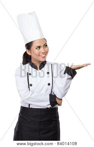 Beauty Woman Chef Presenting