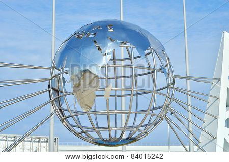Globe sculpture against blue sky in Sochi, Russian Federation