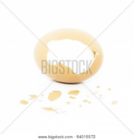 Boiled Egg With Pieced Of Eggshell